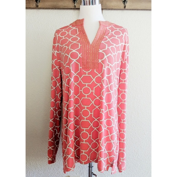 Charter Club Tops - Beautiful coral and gold patterned top